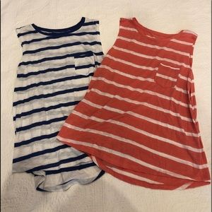 Two striped relaxed tanks with pockets